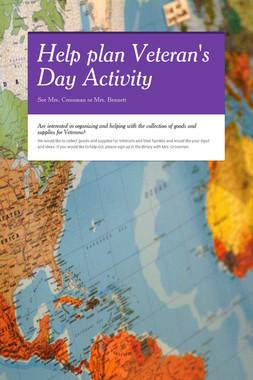 Help plan Veteran's Day Activity