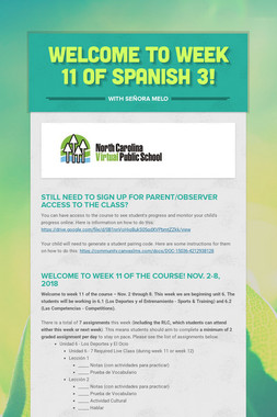 Welcome to Week 11 of Spanish 3!
