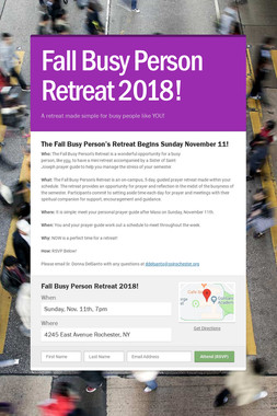 Fall Busy Person Retreat 2018!