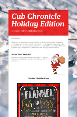 Cub Chronicle Holiday Edition