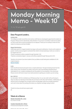 Monday Morning Memo - Week 10