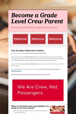 Become a Grade Level Crew Parent