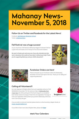 Mahanay News- November 5, 2018
