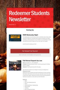 Redeemer Students Newsletter