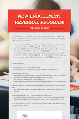 New Enrollment Referral Program!