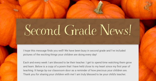 Second Grade News! | Smore Newsletters