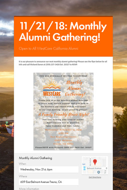 11/21/18: Monthly Alumni Gathering!