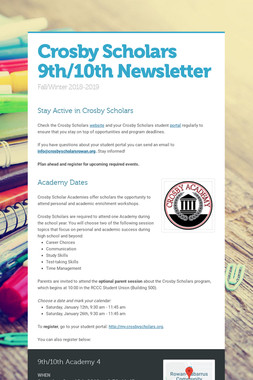 Crosby Scholars 9th/10th Newsletter