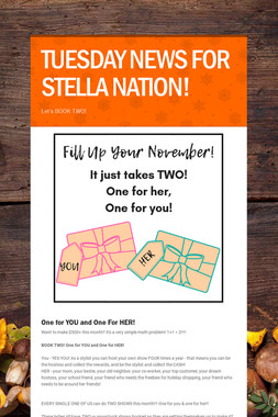 TUESDAY NEWS FOR STELLA NATION!