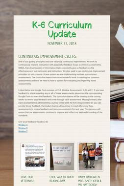 K-6 Curriculum Update