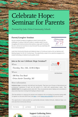 Celebrate Hope: Seminar for Parents