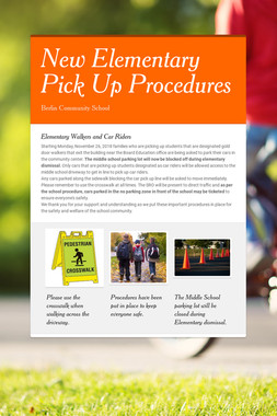 New Elementary Pick Up Procedures