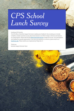 CPS School Lunch Survey