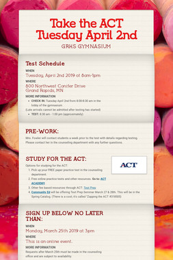 Take the ACT Tuesday April 2nd