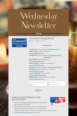 Wednesday Newsletter