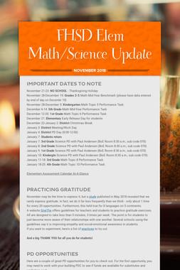 FHSD Elem Math/Science Update