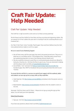 Craft Fair Update: Help Needed