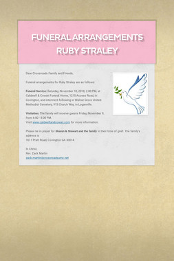 Funeral Arrangements Ruby Straley