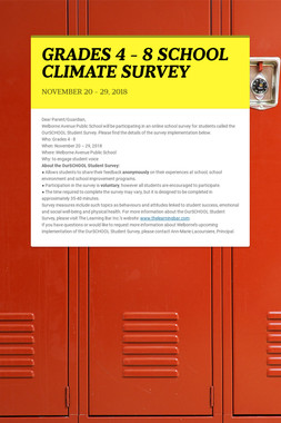 GRADES 4 - 8 SCHOOL CLIMATE SURVEY