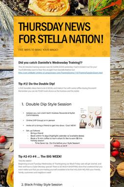 THURSDAY NEWS FOR STELLA NATION!