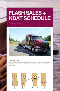 FLASH SALES + KDAT SCHEDULE