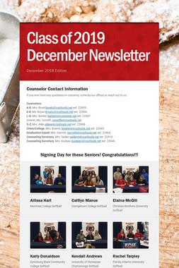Class of 2019 December Newsletter