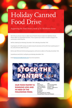 Holiday Canned Food Drive