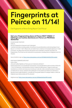 Fingerprints at Peirce on 11/14!