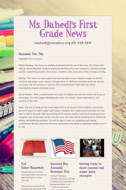Ms. Dahedl's First Grade News