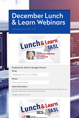 December Lunch & Learn Webinars