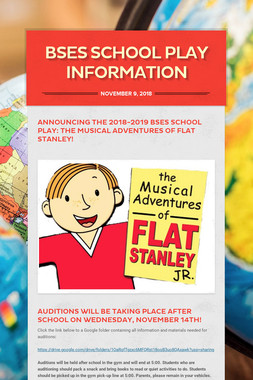 BSES School Play Information