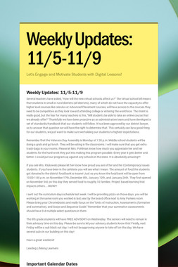Weekly Updates: 11/5-11/9