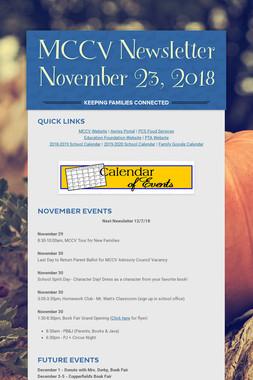 MCCV Newsletter November 23, 2018