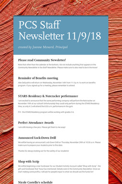 PCS Staff Newsletter 11/9/18