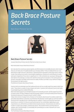 Back Brace Posture Secrets