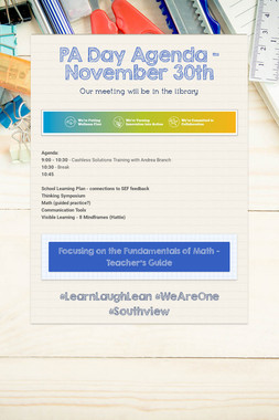 PA Day Agenda - November 30th