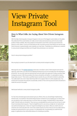 View Private Instagram Tool