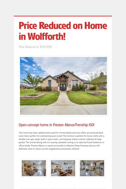 Price Reduced on Home in Wolfforth!