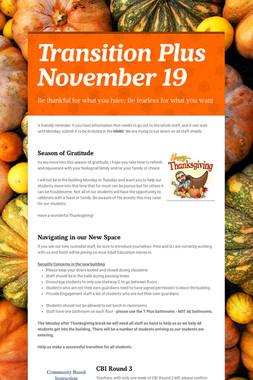 Transition Plus         November 19