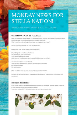 MONDAY NEWS FOR STELLA NATION!
