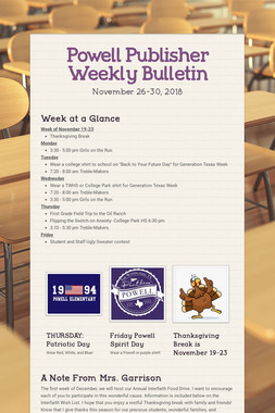 Powell Publisher Weekly Bulletin