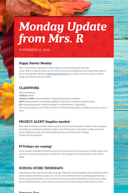 Monday Update from Mrs. R