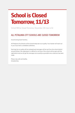 School is Closed Tomorrow, 11/13