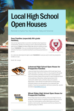 Local High School Open Houses