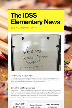 The IDSS Elementary News
