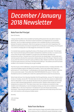 December / January 2018 Newsletter