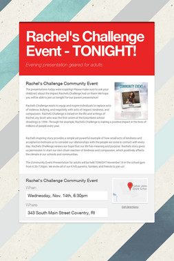 Rachel's Challenge Event - TONIGHT!