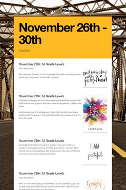 November 26th - 30th