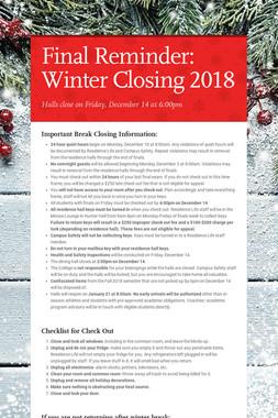 Final Reminder: Winter Closing 2018