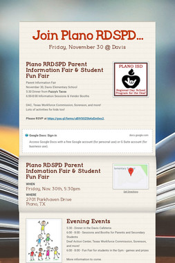 Join Plano RDSPD...